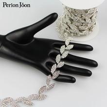 1yard Leaves shape crystal  Blinking rhinestones trim metal chain Ribbon for dress, bag, shoes accessories ML027