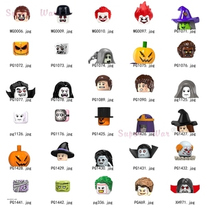 Single Halloween movie Scarecrow Ghost Zombie Vampire Clown Horror Theme Figures Head accessories Building Blocks toy Series-088