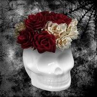 해골 세라믹 꽃 냄비 크리 에이 티브 즙이 많은 검은 흰색 꽃 재배자 홈 정원 냄비에 대 한 환경 친화적 인 디자인 꽃 냄비