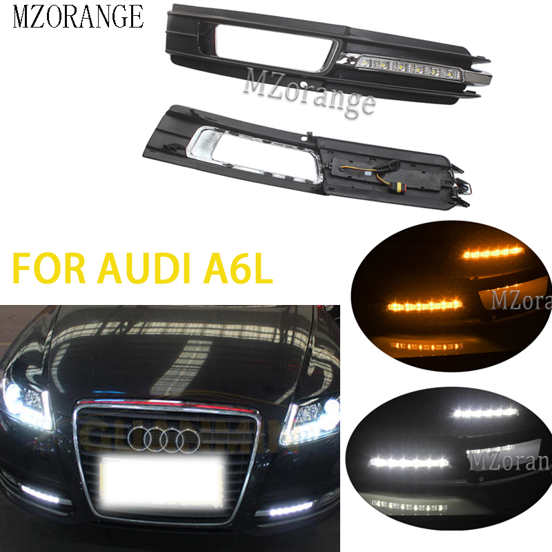 2Pcs LED DRL Daytime Running Light For Audi A6L A6 C6 2009 20102011 For Quattro RS Cabriolet Allroad Front Light Fog Lamp Cover