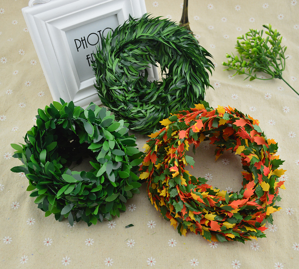 7 Meters/roll Iron Wire Green Leaf Vine Wedding Decorative Flowers Wreaths Christmas Decoration For Home Cheap Artificial Plants