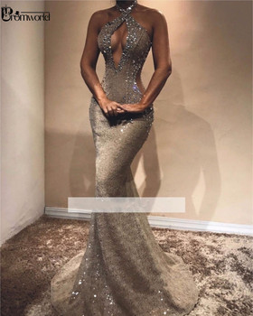 Sexy Beading Lace Prom Dresses 2019 Hater Neck Charming Crystal Sleeveless Mermaid Evening Dress Long Dress Party Robe De Soiree 4