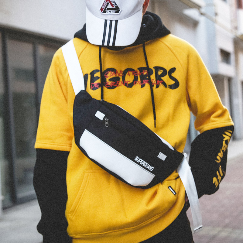 Man And Woman Waist Bag Fanny Pack Street Style Banana Bags Hip Hop Packs Black Oxford Cloth Crossbody Bag Leisure Chest Pack