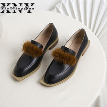 New Brand Flat Shoes Women Loafers Genuine Leather Fur Decoration Oxford Shoes Black Women Casual Shoes Zapatos Mujer Size 41