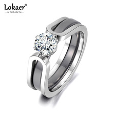 Lokaer Trendy 2 Layers Black/White Ceramic Crystal Wedding Rings Jewelry AAA Zircon Stainless Steel Rhinestone Engagement R18071