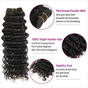 Image 3 - Ali Grace Hair Brazilian Deep Wave Bundles With Frontal Middle Part Deep Wave Bundles with Closure 13x4 Remy Human Hair Weaves