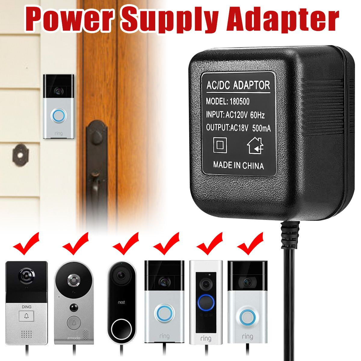 Power Supply Battery Charger Battery Adapter For Ring Video Doorbell US Plug
