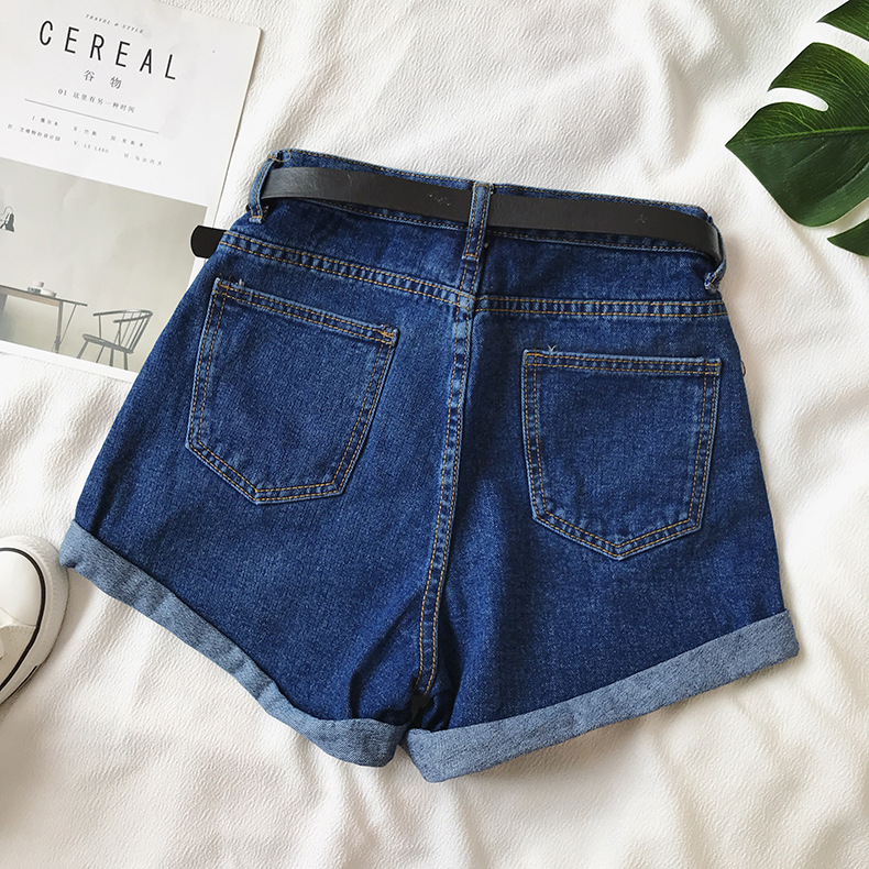 Hc910dd4e591546f8874c03cf8731e755g - Women Summer Shorts Fashion Free Belt High Waist Loose Casual Slim Denim Shorts Women Shorts Jeans mujer femme Korea Shorts