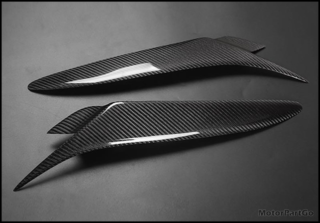 Real Crabon Fiber Head light Eyelid Eyebrow Cover Trim 1pair for Mazda RX8 2004 2008 T201 6