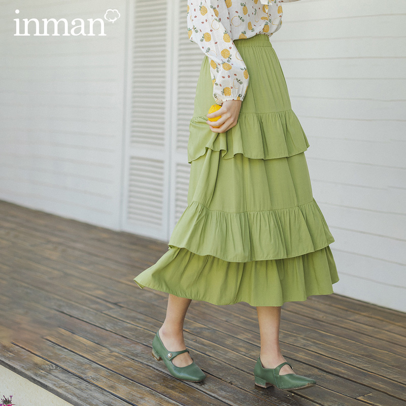 INMAN 2020 Spring New Arrival Literary Pure Color Elastic Waist Falbala Tiered Skirt