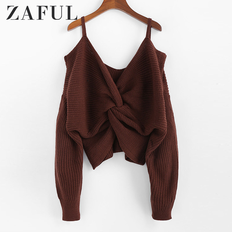 ZAFUL Twisted Cold Shoulder Jumper Sweater Women Pullovers 2019 Winter Warm Sexy Sweaters V-neck Solid Cotton Sweaters Female