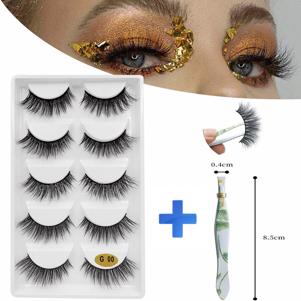 MB 5Pairs Mink Eyelashes Set + Tweezers 3D False Eyelash 11 Style Faux Cils Naturel Thick Long Eye Lashes Wispy Makeup Extension