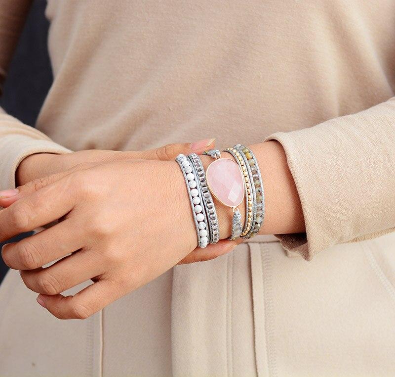 Premium New Wrap Bracelet W/ Natural Stones Cozy Vegan Cord Weaving Statement Bracelet Jewellery Gifts