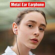 3.5mm kablolu kulakiçi kulaklıklar Metal kulaklık kulaklık Mic ile Stereo Samsung Xiaomi telefonu için bilgisayar