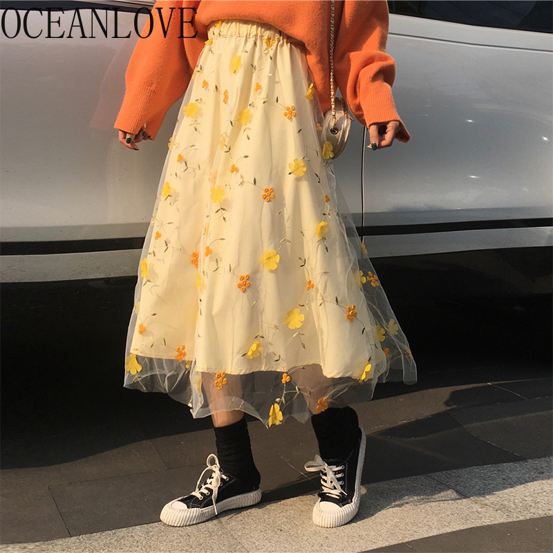 OCEANLOVE 2020 Spring Sweet Flower Long Skirts High Waist Mesh Embroidery Faldas New Vintage A-line Skirt Women 15757