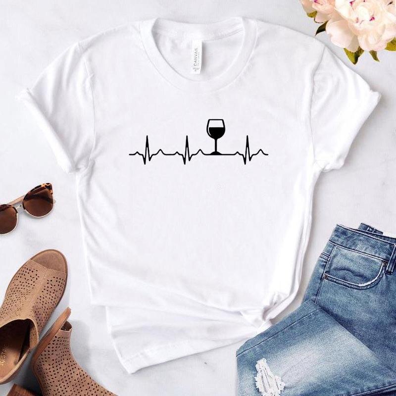 Wine Heartbeat Women t shirt summer tops for women Casual Harajuku Letter print Tops Tee Female T shirt Women Clothing