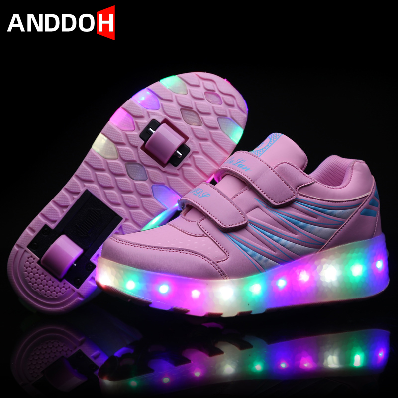 Size 27-43 Children Led Light Up Shoes With Double Wheels Boys Glowing Sneakers Girls Sneakers With Luminous Sole Unisex Shoes