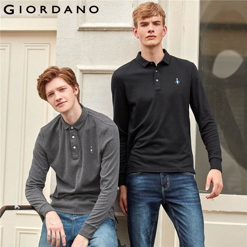Giordano Men Polo Shirt Long Sleeve Embroidery Casual Tops For Men 100% Cotton Polos Para Hombre Ribbed Cuffs 01019782