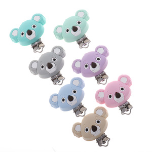 Image 4 - Fkisbox 10pc Bear Silicone Koala Nipple Holder BPA Free Mouse Pacifier Clips Baby Teether Necklace Chewing Teething Chain Clasps