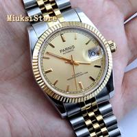parnis 36mm women's top luxury watch sapphire glass Gold color dial 21 Jewels miyota luminous marks automatic womens watch