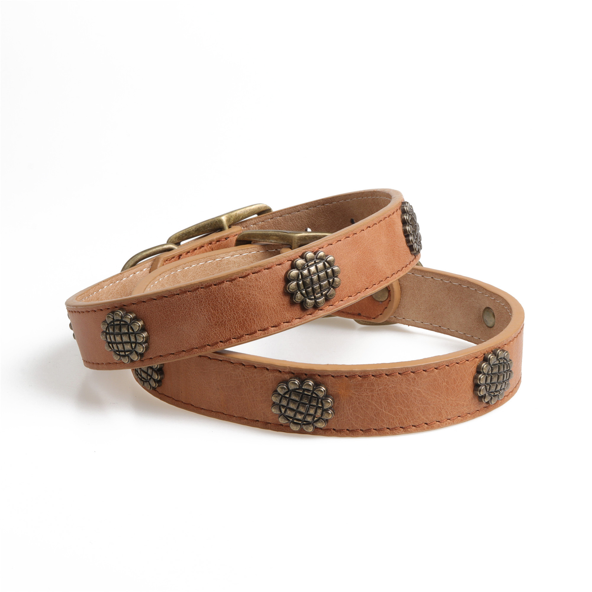 Amin Lattice Cross Border For Brown Full-grain Leather Dog Neck Ring Pet Collar Manufacturers Direct Selling