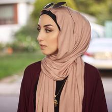 Nouveau musulman hijab islamique femmes musulman hijabs écharpe élastique jersey écharpe coton doux châles plaine foulards