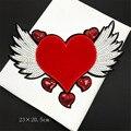 Maxsin Fun 1 шт. Красивая Красная любовь крылья патч модная одежда для девочек аппликация Мода сделай сам украшения одежды пришить блестками