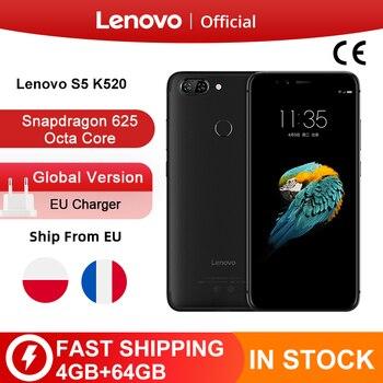 Version mondiale Lenovo S5 K520 4GB RAM 64GB ROM Smartphone Snapdragon 625 Octa core double arrière 13MP avant 16MP visage ID téléphone portable
