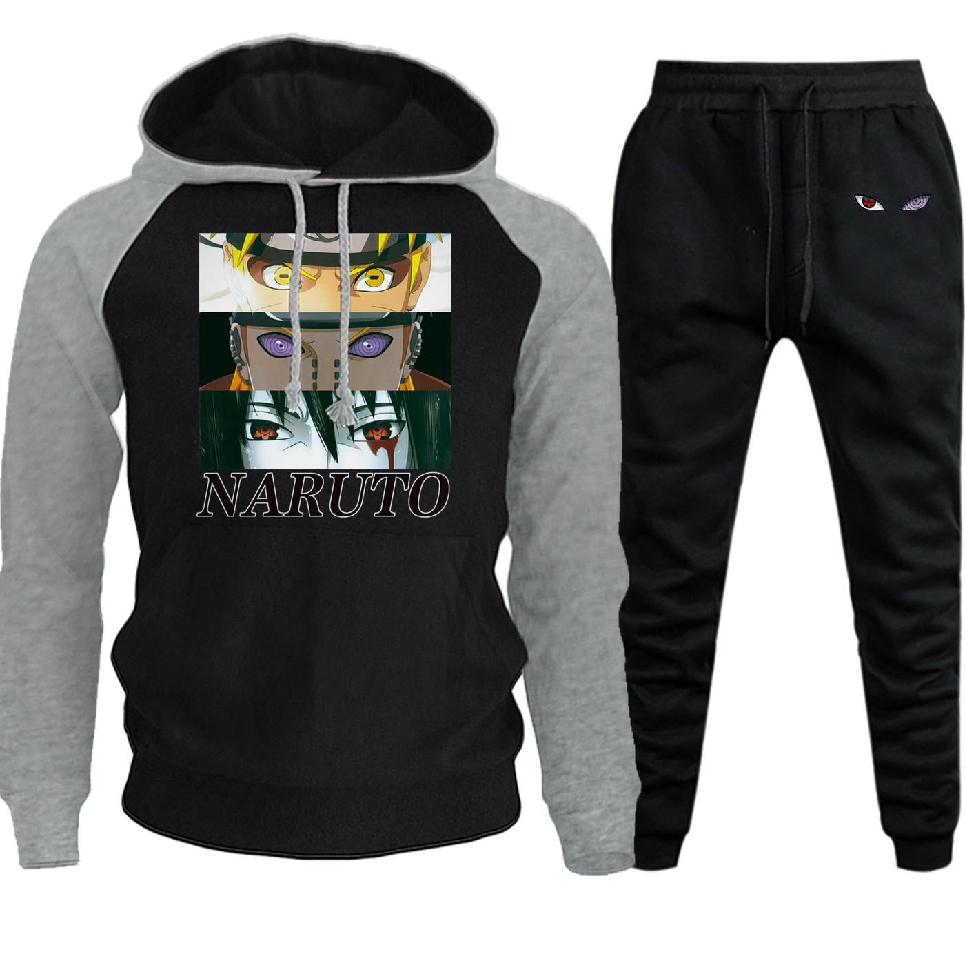 Winter Hot Sale Hooded Mens Streetwear Raglan Naruto Cartoon Print Casual Pullover Hip Hop Sweatshirt Hoodie+Pants 2 Piece Set