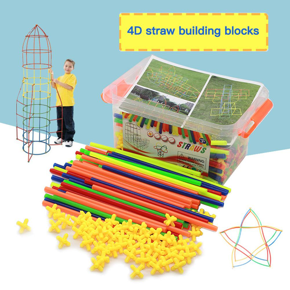 Colorful 4D DIY Straw Building Blocks Joints Plastic Stitching DIY Construction Educational Toys For Children Gift