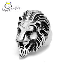 2020 New Vintage Titanium Punk Rock The Lion King Ring Men's Rings 316L Stainless Steel Men Gift Father Jewelry Size 8 9 10 11(China)