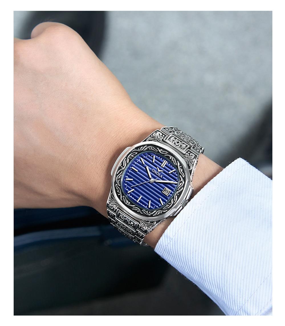 Fashion quartz watch men Brand ONOLA luxury Retro golden stainless steel watch men gold mens watch reloj hombre CLOVER JEWELLERY