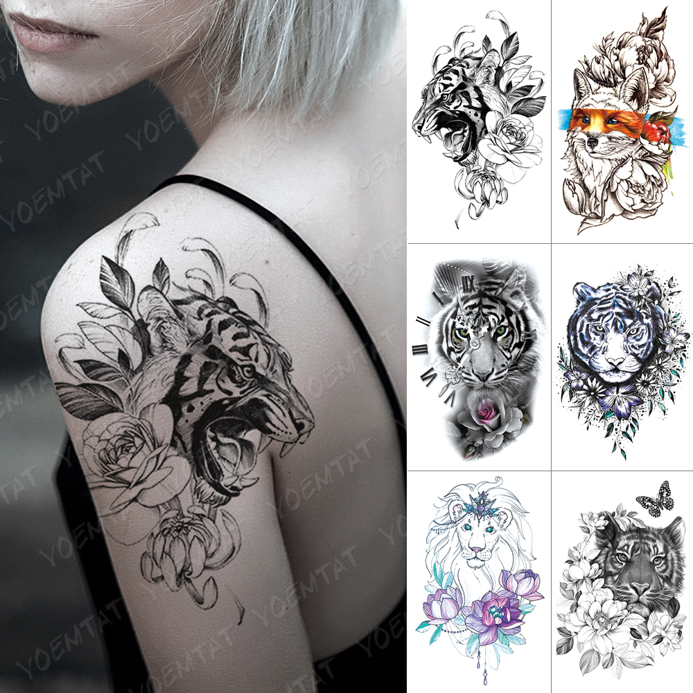 Waterproof Temporary Tattoo Sticker Tiger Lion Fox Butterfly Clock Flash Tattoos Rose Flower Body Art Arm Fake Tatoo Women Men