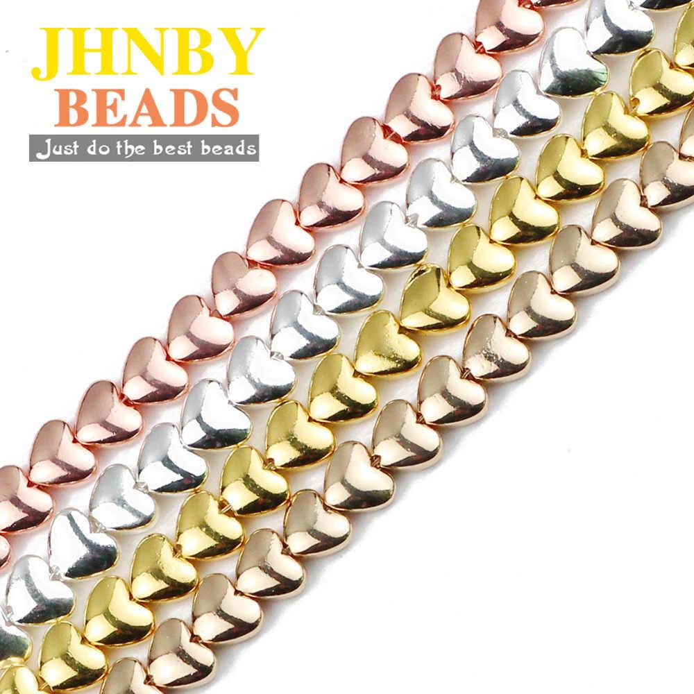 Jhnby Emas Perak Peach Jantung Bijih Besi Batu Alam 6 Mm Spacer Longgar Beads untuk Perhiasan Membuat DIY Gelang Aksesoris Menemukan