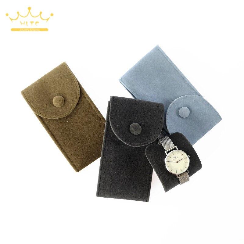 Watch Jewelry Organizer Velvet Bag Bracelet Pouch Travel Necklace Ring Storage Holder With Button