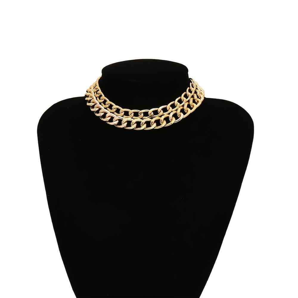 Punk Curb Cuban Gold Snake Chain Necklace Choker Women Men Steampunk Two Layered Link Thick Necklace Collier Femme Accessories
