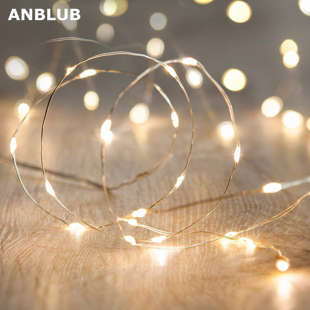 ANBLUB 1M 2M 5M 10M 20M Silver LED String Lights New Year Fairy Lights Garland For Christmas Wedding Party Holiday Decoration
