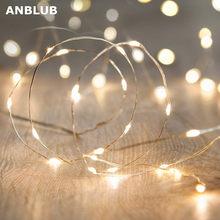ANBLUB-guirnalda de luces LED plateadas para Navidad, boda, fiesta, decoración de vacaciones, 1M, 2M, 5M, 10M, 20M
