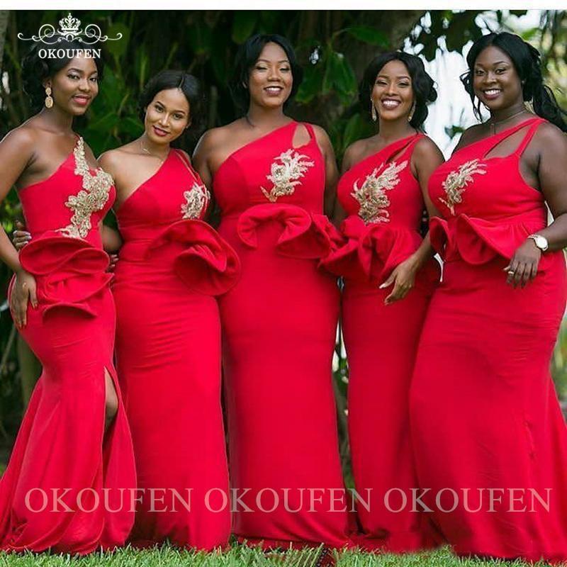 Red One Shoulder Bridesmaid Dresses With Peplum Appliques Split Long Mermaid Wedding Guest Dress For Women Vestido Madrinha