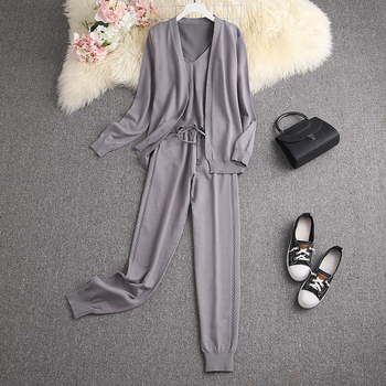 ALPHALMODA Spring Candy Color Knitted Cardigans + Camisole + Pants 3pcs Fashion Suit Women Seasonal Stylish Clothes Set 16
