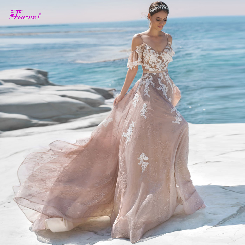 Fsuzwel Charming Sweetheart Neck Backless A-Line Wedding Dresses 2019 Luxury Sashes Appliques Lace Princess Bride Gown Plus Size