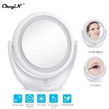 Compact Touch Screen Led Licht Cosmetische Spiegel Dual-Side 1X En 5X Vergrootglas 360 Rotary Usb Oplaadbare Make-Up spiegel