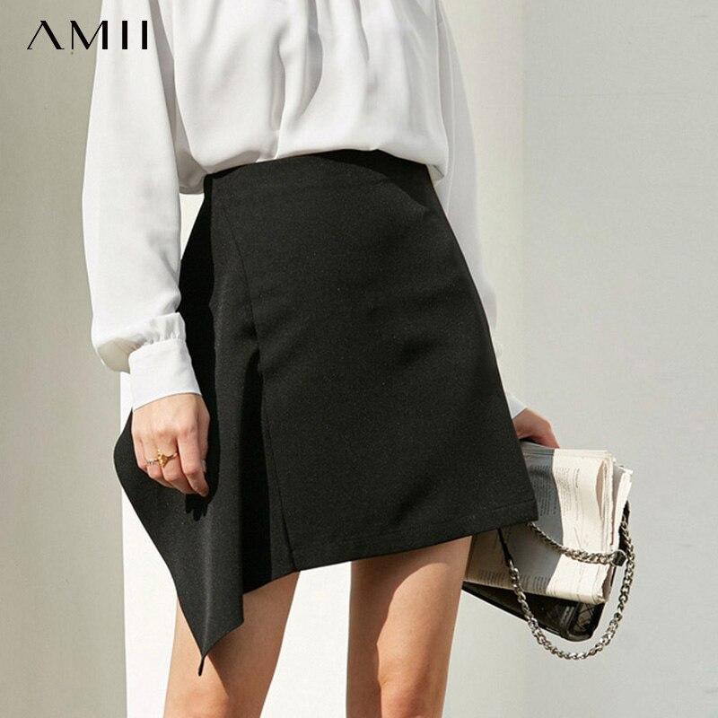 Amii Minimalist Irregular Skirt Summer Women Solid High Waist Zipper Female Elegant Straight Skirt 11970076