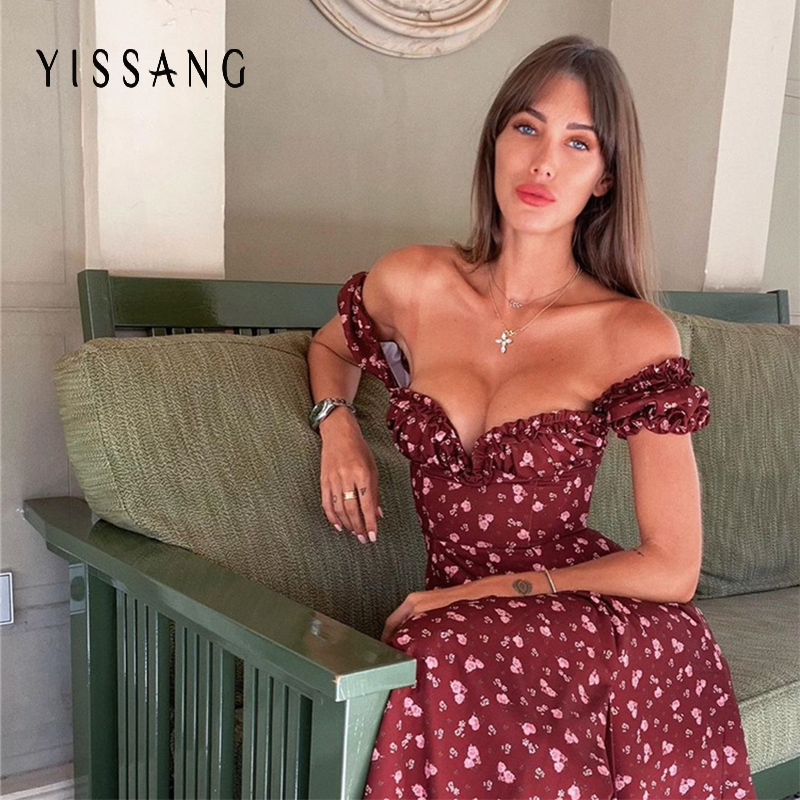 Yissang Floral Print Puff Short Sleeve Women Dress High Split Party Long Dresses Elegant Lace Up Sweet Summer Club Sexy Dress 13