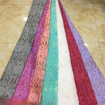 High Quality African Lace Fabric beads Sequins Tissu Indian Wedding Dress Fabric French Swiss Voile Mesh Tulle Lace Material