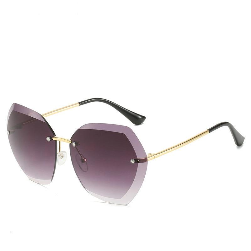 2020  Fashion Rimless Pilot Sunglasses Women Brand Design Retro Vintage Cutting Lens Gradient Sun Glasses Female UV400