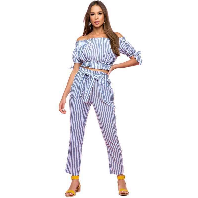 2019 Европа и Соединенные Штаты осень новые женские модные повседневные топ брюки открытый пупок женские из двух частей