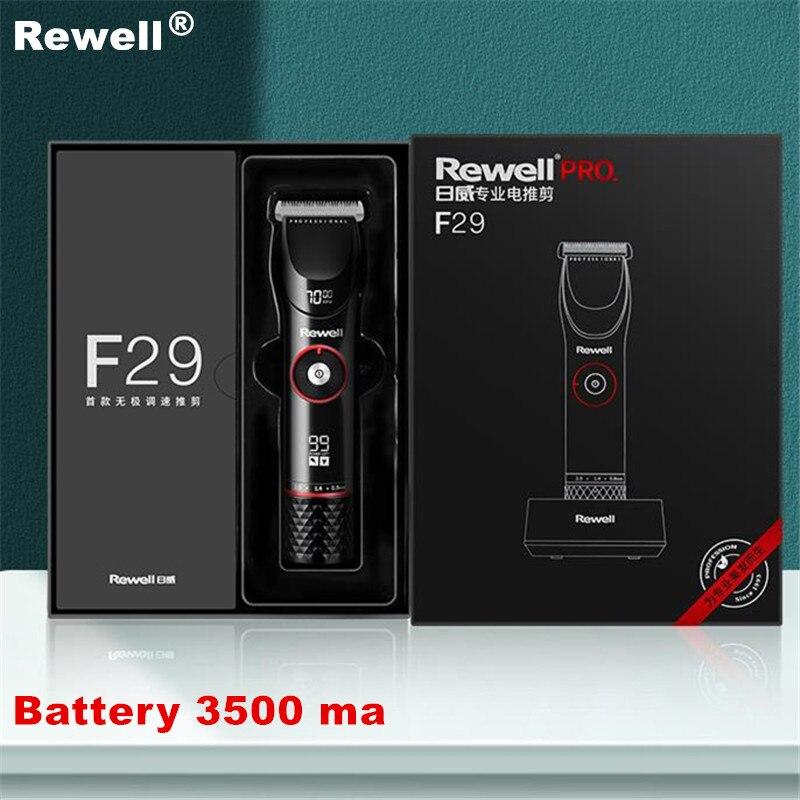 100% original rewell f29 profissional máquina de cortar cabelo elétrica cabeça de aço refinado cortador de cabelo preto aparador de cabelo 100-240v 3500 ma
