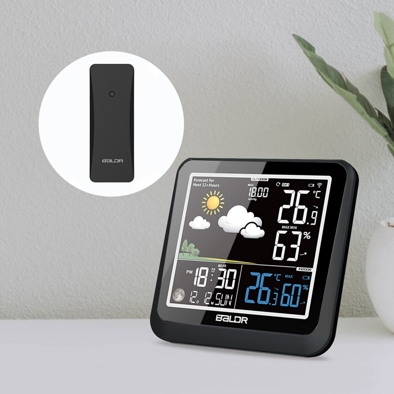 Baldr Wireless Weather Station Color LCD Wall Thermometer Hygrometer In/Outdoor Moon Phase Barometer Forecast Sensor Calendar