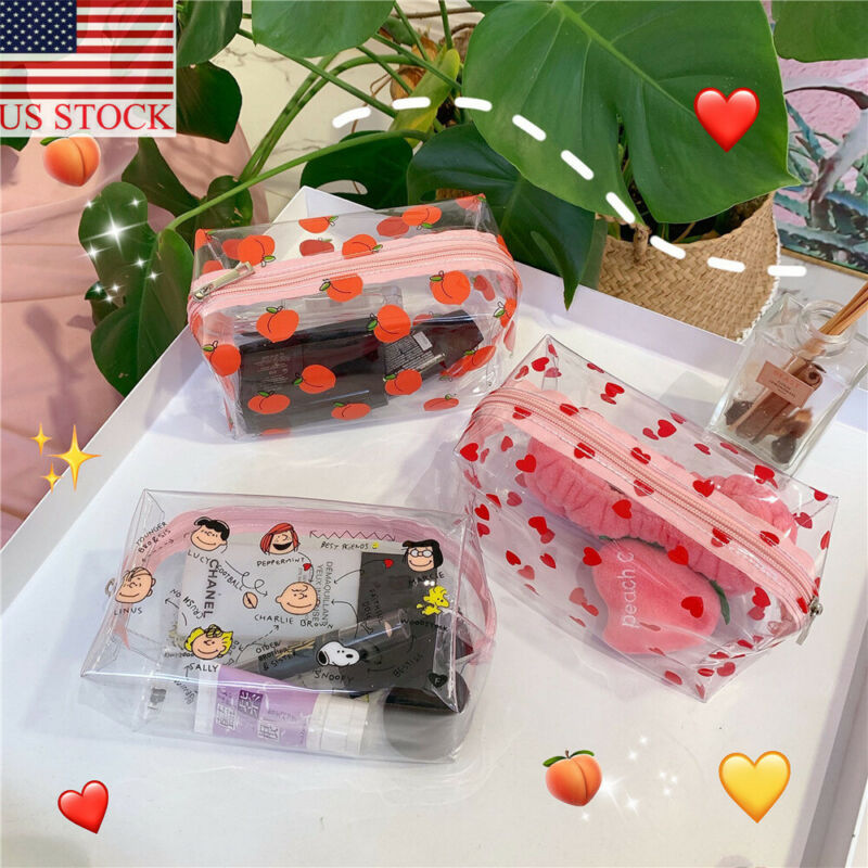 Travel Transparent Cosmetic Bag PVC Women Zipper Cute Makeup Bag Beauty Make Up Storage Organizer Courtesy Bathroom Toiletry Bag
